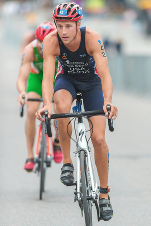 berg: STOCKHOLM, SWEDEN - JULY 02, 2016: Rodolphe Von Berg (USA) cycling at the Mens ITU Triathlon event in Stockholm.