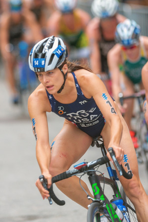 rival rivals rivalry season: STOCKHOLM, SWEDEN - JULY 02, 2016: Sarah True (USA) cycling at the Women ITU Triathlon event in Stockholm. Editorial