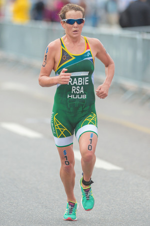 participant: STOCKHOLM, SWEDEN - JULY 02, 2016: Mari Rabie (RSA) at the last lap at the the running in the Women ITU Triathlon event in Stockholm. Editorial