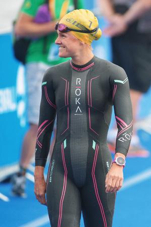 ber: STOCKHOLM, SWEDEN - JULY 02, 2016: Flora Duffy (BER) before the start at Women ITU Triathlon event in Stockholm.