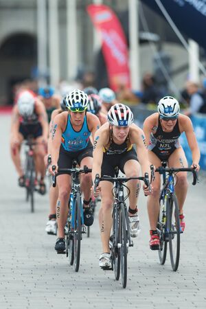 ger: STOCKHOLM, SWEDEN - JULY 02, 2016: Laura Lindemann (GER) infront of a group in the cycling at the Women ITU Triathlon event in Stockholm. Editorial