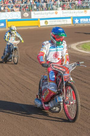 HALLSTAVIK, SWEDEN - JULY 19, 2016: Speedway racer after the finish between Rospiggarna and Lejonen at HZ Bygg Arena in Hallstavik.