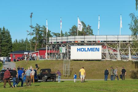 HALLSTAVIK, SWEDEN - JULY 19, 2016: Outside the arena at Speedway racing between Rospiggarna and Lejonen at HZ Bygg Arena in Hallstavik.