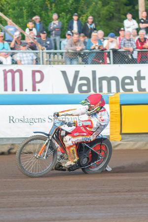 HALLSTAVIK, SWEDEN - JULY 19, 2016: Speedway racing between Rospiggarna and Lejonen at HZ Bygg Arena in Hallstavik. Sajtókép