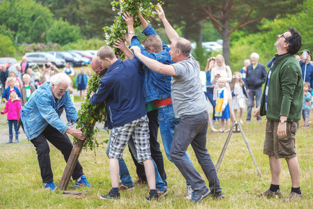 midsummer pole: SINGO, SWEDEN - JUNE 24, 2016: Rising of the traditional maypole. Traditional event in Sweden
