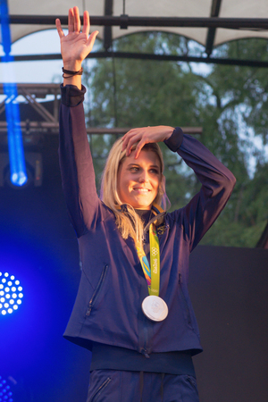 celebrated: STOCKHOLM, SWEDEN - AUG 21, 2016: Olympic medalists from Rio are celebrated in Kungstradgarden. Soccerplayer Olivia Schough