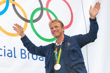 medalist: STOCKHOLM, SWEDEN - AUG 21, 2016: Olympic medalists from Rio are celebrated in Kungstradgarden. Horse jumping Silver medalist Peder Fredriksson Editorial