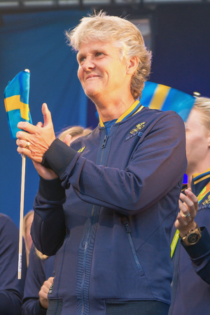 soccer coach: STOCKHOLM, SWEDEN - AUG 21, 2016: Olympic medalists from Rio are celebrated in Kungstradgarden. Soccer coach Pia Sundhage