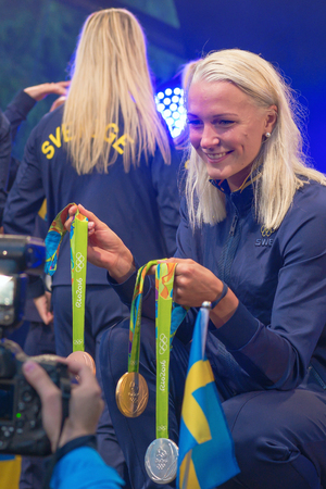 STOCKHOLM, SWEDEN - AUG 21, 2016: Olympic medalists from Rio are celebrated in Kungstradgarden.