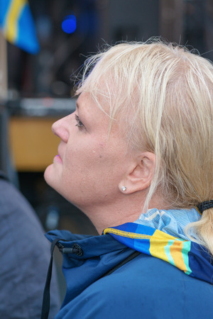 medalist: STOCKHOLM, SWEDEN - AUG 21, 2016: Olympic medalists from Rio are celebrated in Kungstradgarden. Former gold medalist in Curling, Anette Norberg Editorial