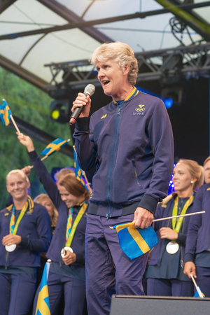 celebrated: STOCKHOLM, SWEDEN - AUG 21, 2016: Olympic medalists from Rio are celebrated in Kungstradgarden. Singalong with Pia Sundhage