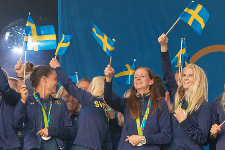 hm: STOCKHOLM, SWEDEN - AUG 21, 2016: Olympic medalists from Rio are celebrated in Kungstradgarden.