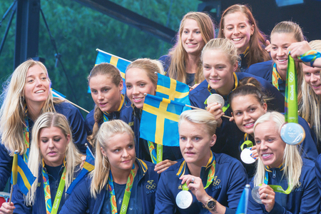 celebrated: STOCKHOLM, SWEDEN - AUG 21, 2016: Olympic medalists from Rio are celebrated in Kungstradgarden.