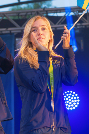 linda: STOCKHOLM, SWEDEN - AUG 21, 2016: Olympic medalists from Rio are celebrated in Kungstradgarden. Soccerplayer Linda Sembrant
