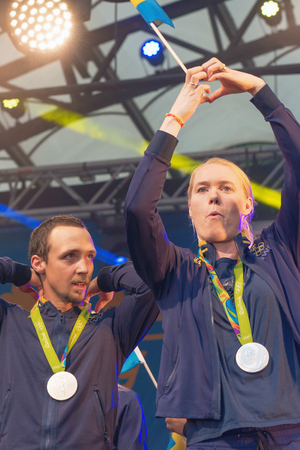 celebrated: STOCKHOLM, SWEDEN - AUG 21, 2016: Olympic medalists from Rio are celebrated in Kungstradgarden. Goalkeeper Hedvig Lindahl
