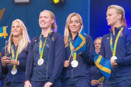 linda: STOCKHOLM, SWEDEN - AUG 21, 2016: Olympic medalists from Rio are celebrated in Kungstradgarden. Goalkeeper Hedvig Lindahl