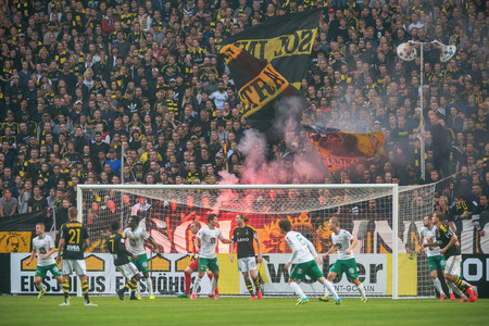 ultras: SOLNA, SWEDEN - AUG 28, 2016: Soccer derby between AIK and Hammarby in Allsvenskan at Friends arena.