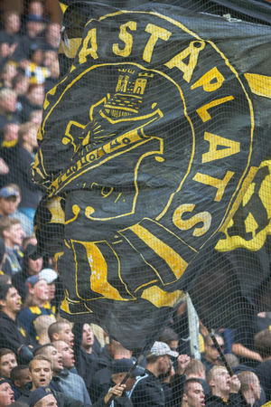 solna: SOLNA, SWEDEN - AUG 28, 2016: Soccer derby between AIK and Hammarby in Allsvenskan at Friends arena.