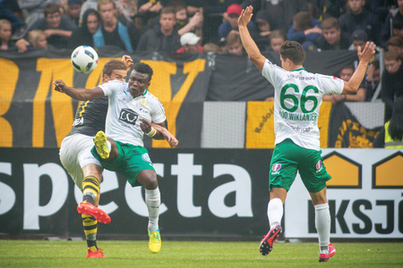 SOLNA, SWEDEN - AUG 28, 2016: Soccer derby between AIK and Hammarby in Allsvenskan at Friends arena.