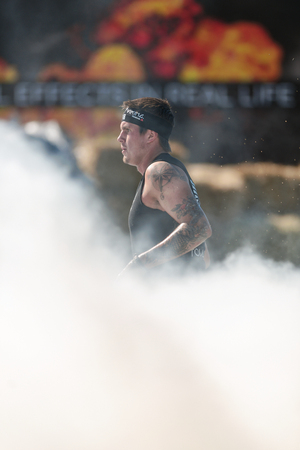 tough: STOCKHOLM, SWEDEN - AUG 27, 2016: Fire obstacle at the Tough Viking event at Gardet in Stockholm.