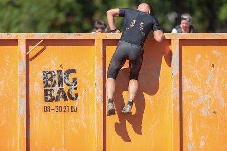 STOCKHOLM, SWEDEN - AUG 27, 2016: Steel walls by Big Bag at the Tough Viking event at Gardet in Stockholm.
