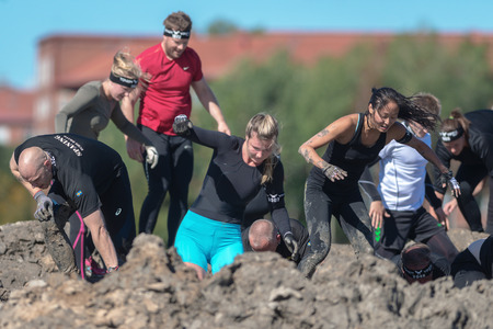 STOCKHOLM, SWEDEN - AUG 27, 2016: Mud Charge by Backstrom at the Tough Viking event at Gardet in Stockholm. Editorial