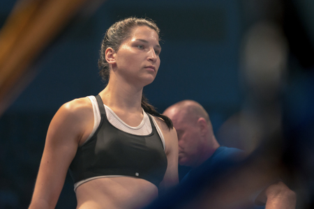 STOCKHOLM, SWEDEN - SEPT 10, 2016: Before the match Patricia Berghult (SWE) vs Magyar Kinga (HUN) in the female super lightweight. The winner takes it all event. Berghult winner TKO.