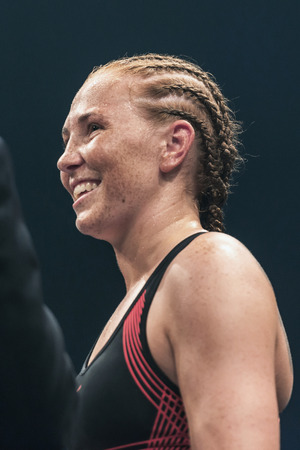 STOCKHOLM, SWEDEN - SEPT 10, 2016: Winner Patricia Berghult (SWE) against Magyar Kinga (HUN) in the female super lightweight. The winner takes it all event. Berghult winner TKO. Editorial
