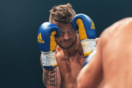 STOCKHOLM, SWEDEN - SEPT 10, 2016: Match between Naim Terbunja (SWE) vs Baptiste Castenegro (FRA) in super middleweight at The winner takes it all event in boxing. Winner Terbunja Editorial