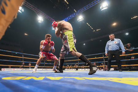 STOCKHOLM, SWEDEN - SEPT 10, 2016: Match between Anthony Yigit (SWE) vs Armando Robles (MEX) in super lightweight at The winner takes it all event in boxing. Winner Anthony Yigit