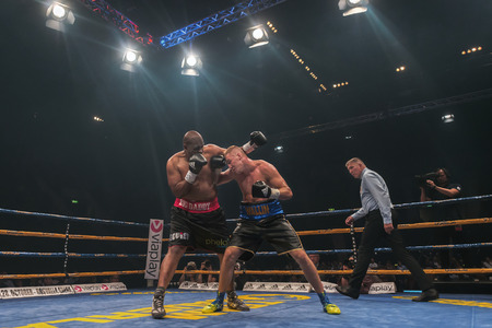 otto: STOCKHOLM, SWEDEN - SEPT 10, 2016: Match between Otto Wallin (SWE) vs Osbourne Machimana (RSA) in heavyweight at The winner takes it all event in boxing. Winner Otto Wallin