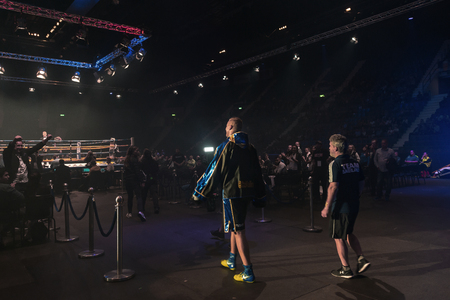 the heavyweight: STOCKHOLM, SWEDEN - SEPT 10, 2016: Entrance walk between Otto Wallin (SWE) vs Osbourne Machimana (RSA) in heavyweight at The winner takes it all event in boxing. Winner Otto Wallin Editorial