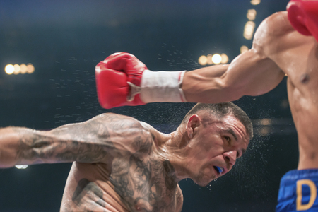 lightweight: STOCKHOLM, SWEDEN - SEPT 10, 2016: Match between Anthony Yigit (SWE) vs Armando Robles (MEX) in super lightweight at The winner takes it all event in boxing. Winner Anthony Yigit