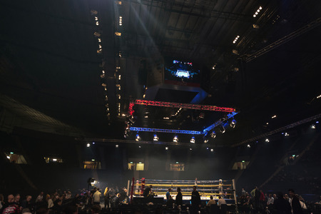 the heavyweight: STOCKHOLM, SWEDEN - SEPT 10, 2016: Arena before the bout of Otto Wallin (SWE) vs Osbourne Machimana (RSA) in heavyweight at The winner takes it all event in boxing. Winner Otto Wallin