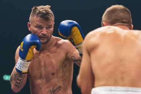STOCKHOLM, SWEDEN - SEPT 10, 2016: Match between Naim Terbunja (SWE) vs Baptiste Castenegro (FRA) in super middleweight at The winner takes it all event in boxing. Winner Terbunja Editorial