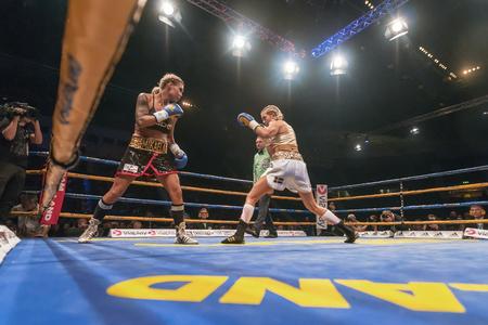 bout: STOCKHOLM, SWEDEN - SEPT 10, 2016: WBC title match between Mikaela Lauren (SWE) vs Klara Svensson (SWE) in welterweight at The winner takes it all event in boxing. Winner Klara Svensson Editorial