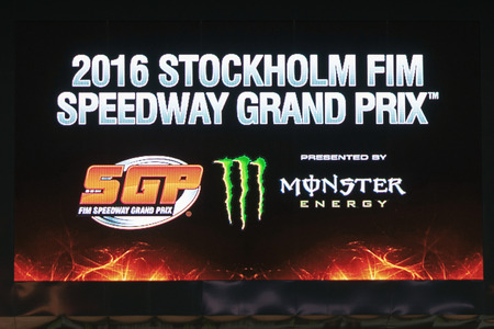 prix: STOCKHOLM - SEPT 24, 2016: Jumbotron at the Stockholm FIM Speedway Grand Prix at Friends Arena in Stockholm. Editorial