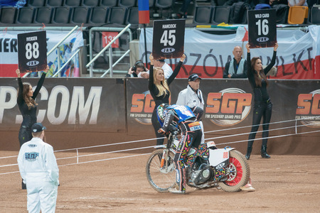 prix: STOCKHOLM - SEPT 24, 2016: Stockholm FIM Speedway Grand Prix at Friends Arena in Stockholm. Editorial