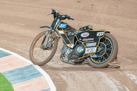 STOCKHOLM - SEPT 24, 2016: Bike after the the crash from Kim Nilsson at Stockholm FIM Speedway Grand Prix at Friends Arena in Stockholm.
