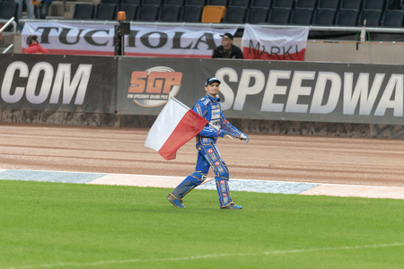 prix: STOCKHOLM - SEPT 24, 2016: Bartosz Zmarzlik after the presentation at Stockholm FIM Speedway Grand Prix at Friends Arena in Stockholm. Editorial