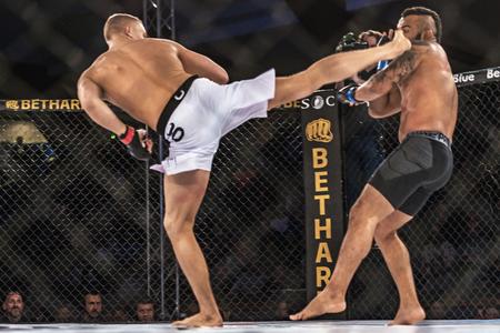 STOCKHOLM - OCT 8, 2016: Fight between Oliver Enkamp vs Rickson Pontes at Superior Challenge 14 at Eriksdalshallen in Stockholm.