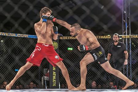 STOCKHOLM - OCT 8, 2016: Fight between Saeed Ganji vs Patrik Pitela at Superior Challenge 14 at Eriksdalshallen in Stockholm.