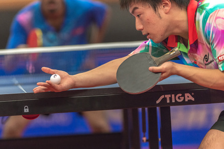 STOCKHOLM, SWEDEN - NOV 16, 2016: Male players at the table tennis tournament SOC at the arena Eriksdalshallen in Stockholm. Editorial
