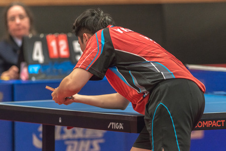 gameplay: STOCKHOLM, SWEDEN - NOV 16, 2016: Male players at the table tennis tournament SOC at the arena Eriksdalshallen in Stockholm. Editorial