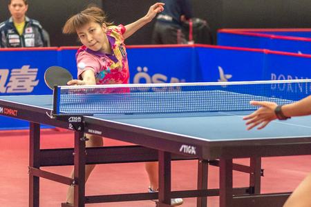 STOCKHOLM, SWEDEN - NOV 17, 2016: Batra Manika (IND) vs Kyoka Kato (JPN) at the table tennis tournament SOC at the arena Eriksdalshallen in Stockholm.