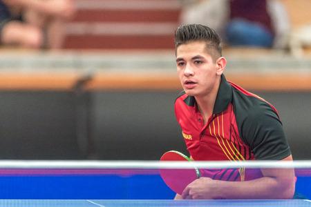 STOCKHOLM, SWEDEN - NOV 18, 2016: Par Gerell (SWE) vs Martin Allegro (BEL) at the table tennis tournament SOC at the arena Eriksdalshallen in Stockholm.
