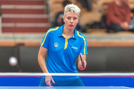 gameplay: STOCKHOLM, SWEDEN - NOV 18, 2016: Matilda Ekholm (SWE) vs Ying Han (GER) at the table tennis tournament SOC at the arena Eriksdalshallen in Stockholm.
