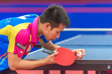 STOCKHOLM, SWEDEN - NOV 19, 2016: Chen Ting Liao (TPE) vs Kenta Tazoe (JPN) in the t able tennis tournament SOC at the arena Eriksdalshallen in Stockholm. Editorial