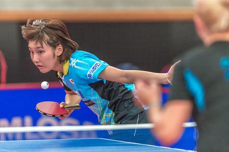 STOCKHOLM, SWEDEN - NOV 18, 2016: Miyu Kato (JPN) vs Georgina Pota HUN) at the table tennis tournament SOC at the arena Eriksdalshallen in Stockholm.