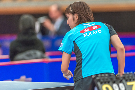 georgina: STOCKHOLM, SWEDEN - NOV 18, 2016: Miyu Kato (JPN) vs Georgina Pota HUN) at the table tennis tournament SOC at the arena Eriksdalshallen in Stockholm.